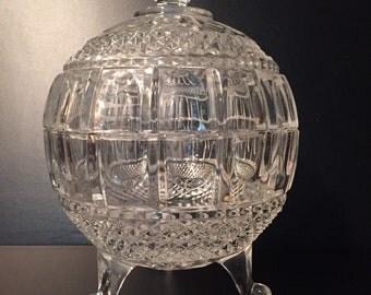 Cut Crystal Globe Bowl with Lid