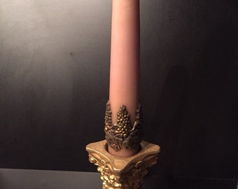 Vintage Baroque Style Ceramic Candle Holder & Vintage Wax Candle