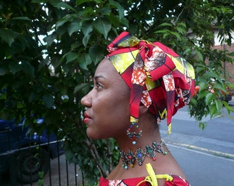 Red and Yellow Waves Jiffy Head Wrap, African Wax Headtie