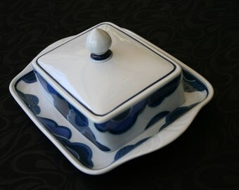 Villeroy and Bach Blue Cloud Butter Dish Excellent Condition 1960s made in Germany Rare