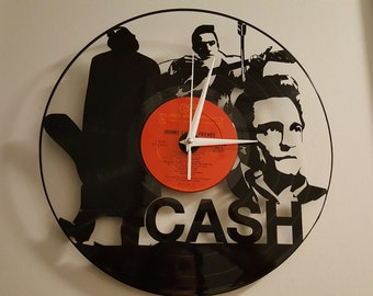 Johnny Cash  Vinyl Record Clock, Johnny Cash Gift, Johnny Cash Vinyl Record, Wall Clock, Custom Clocks, Johnny Cash Gifts, Vinyl Record Cloc