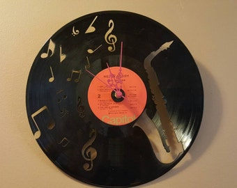 Jazz Sax Saxophone Vinyl Record Clock