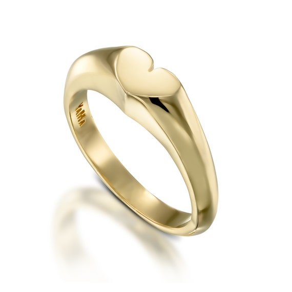 Heart Ring Gold Love Ring Gold Pinky Ring Women Fine Gold