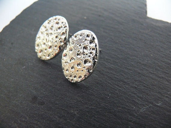 Silver Moon Textured Studs - Handmade Silver Textured Studs
