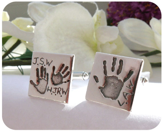 Fingerprint Jewellery - Personalised Solid Silver Cufflinks - Gift for Him - Actual Prints Captured in Silver - Keepsakes