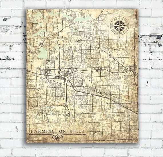 Farmington Hills (MI) United States  city photos : FARMINGTON HILLS Canvas Print Michigan Mi City Vintage map Wall Art ...