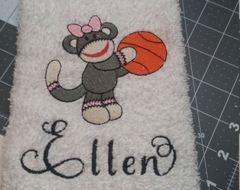 Sock Monkey Personalized Hand Towel