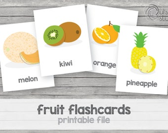 Printable kid's fruit flashcards, english