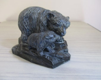 Black Bear with Cub Figurine