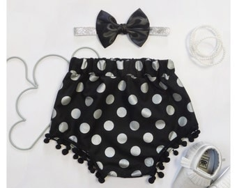 Bloomers+Headband set ~ size M ~ 6-18m ~ Pom Pom Bloomers ~ Black and Metallic Silver Dots ~ FreeAusPostage ~ Ready Made