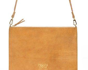 Tan Leather Clutch Bag, Bangili Clutch - Maasai Colour
