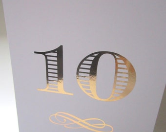 Wedding Table Number Cards - Gold Rose print