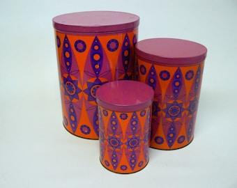 Retro Seventies Set of three Tomado Cans