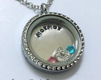 MorMor - Floating Charm Locket - Memory Locket - Custom Hand Stamped Gift for Mormor