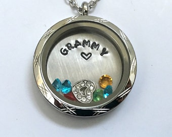 GRAMMY - Etched Edge or Custom Floating Charm Locket - Memory Locket - Custom Hand Stamped Gift for Mom