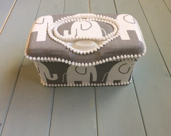 Elephant Grey White Boutique Style Nursery Wipe Case Flip Top Wipes Case