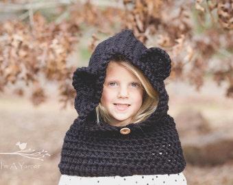 Black Bear Hood, Bear Hood, Animal Hoodie, Hooded Cowl, Chunky Cowl Hood, Animal Hood, Bear Hat, Bear Hoodie, Kids Hood, Baby Hood