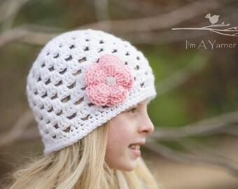 White Crochet Hat, Spring Crochet Beanie, White and Pink Hat, Spring Accessories, Crochet Flower Hat, Newborn Hat, Spring Photo Prop