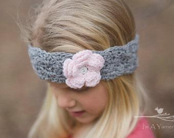 Spring Flower Headband, Gray and Pink Crochet Headband, Crochet Lace Ear Warmer, Spring Gifts, Head Band for Girls, Handmade Gift, Trendy