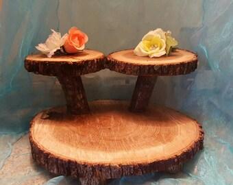 Rustic tree slab cake stand