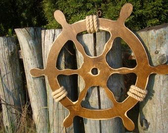 60 cm Wooden Steering Wheel,nautical, HELM,  maritime, MARINE WOOD