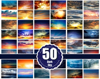 50 Dark Sky Overlays, Cloud Overlays, skies overlay, photography Overlays - Photoshop Overlays jpg file