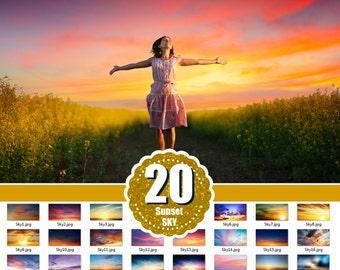 20 sunset sky, skies overlay, cloud overlays, dreamy Sky Overlays, realistic sky, Gorgeous Sky, Photoshop Overlays, beach sky, jpg file