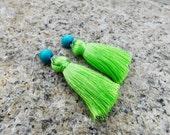 SALE! 15% OFF Tassel Earrings With beads green Tassel Earrings blue Earrings Short Tassel Earrings Long Earrings