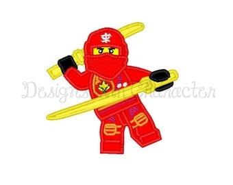 "Red block Ninja applique machine embroidery design- 3 sizes 4x4"", 5x7"", 6x10"""