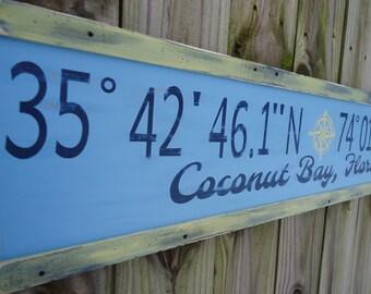 Personalized latitude longitude sign/custom longitude latitude wood sign/family GPS coordinates sign/rustic coordinates/blue longitude