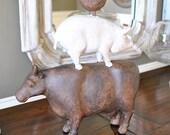 Rustic stacked farm animals~farmhouse decor~rustic decor~vintage stacked farm animals~Chicken, Pig, Cow~kitchen decor