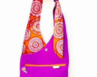 Malaga Reversible Handbag. Canvas and printed fabric. Handmade by Orange bicycle designs.