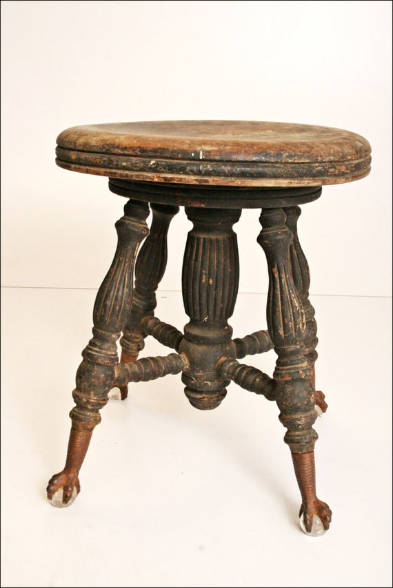 Antique Piano Stool Ball Claw Foot Vintage By