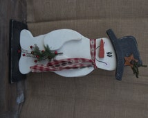 Hand painted wood snowman,Christmas decoration,Primitive/Country/Rustic Snowman,Rustic Christmas,Frosty the Snowman,Christmas Gifts