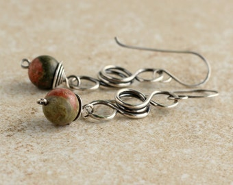 Sterling Silver Earrings- Wire Wrapped Earrings- Gift For Mom- Gemstone Earrings- Boho Earrings- Bohemian Earrings- Gift For Wife