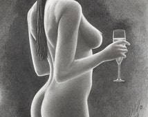 Original pencil drawing by Stephen McCall, nude pencil drawing, nude woman, nude pencil art, nude art, pretty woman, pencil drawing