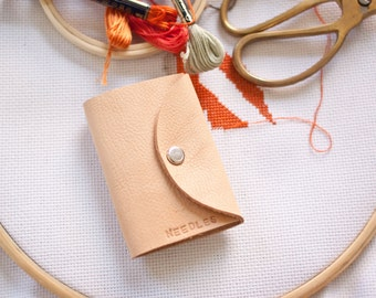 Leather and felt needle wallet