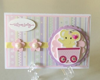Handmade welcome baby card