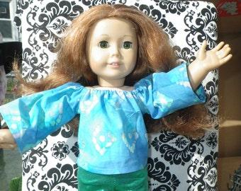 Blue Batik Summer Chill Gear Cotton Long Kimono-Sleeved Top for 18-inch Dolls