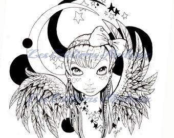 Coloring has print - Angel of stars