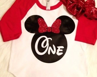 Minnie Mouse red First Birthday shirt raglan baseball tee Second Birthday shirt, glitter, girls