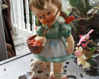 Clearance Vintage knick knack little girl and her cat ceramic figurine