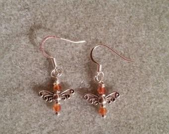 Butterfly on Orange Earrings