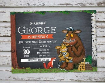 The Gruffalo Birthday Party Invitation, Digital Printable The Gruffalo Invite, DIY The Gruffalo Party Invitation  DIGITAL FILE