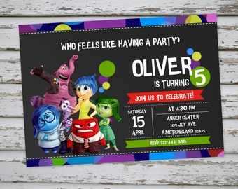 Inside Out Birthday Invitation Inside Out Invitation Inside Out Invite Inside Out Party Inside Out Theme with Free Matching Thank You Card