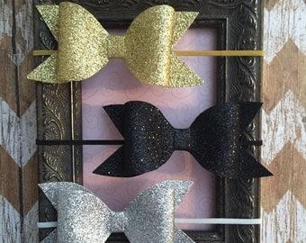 Gold Bow Headband, Silver Bow Headband, Black Bow Headband, Glitter Bow Headband, Glitter Bow, Baby Bow Headband, Bow Headband, Newborn Bow