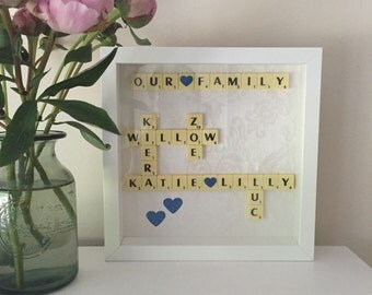Scrabble Art Picture Frame Present Gift Idea