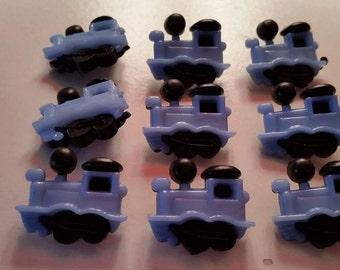 Lot #2 plastic blue locomotive buttons