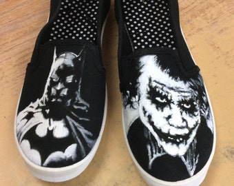 Custom painted shoes of Batman and Joker