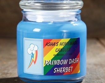 My Little Pony Rainbow Dash Sherbet Soy Candle | 16 oz. | All Natural Soy Wax | Geek Gift Idea
